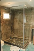 Spacious glass, walk-in shower